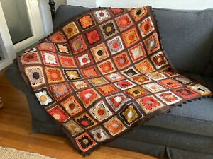 Crochet Blanket/throw Moroccan tiles inspired squares, spice colours 127 cms NEW