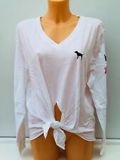 Victoria's Secret Pink Graphic Long Sleeve Knotted Tee in White Size M