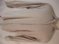 Allen Edmonds Mens Beige Herringbone Long Sleeve Cotton Shirt L