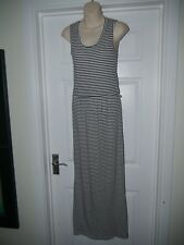 Ladies Blue & White Striped Maxi Dress with Crocheted Flower Back Size 6