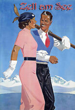 Zell am See  Ad Art Ski Skiing Deco Travel Poster Print