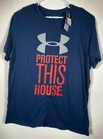 Men's Short Sleeve T Shirt, Under Armour, Heatgear, Loose Size 2XL, Blue