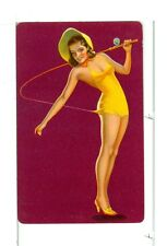 """Single Vintage Playing Card Pin Up """"Fishing"""" Red Bkgd"""