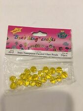 Bead King Crafts Beads Transparent Faceted Glass Yellow/ Amber 8mm