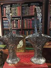 "Pair Antique Barbour Silver Plated Brides Baskets: 13"" tall: Ornate Repousse"