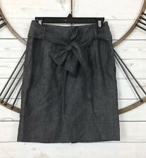 Banana Republic Linen Chambray Skirt Lined Belted Size 2