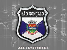 3D Emblem Sticker Resin Domed Flag São Gonçalo - Adhesive Decal Vinyl