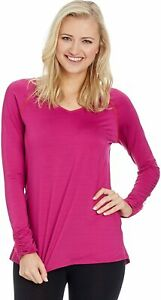 SPANX Streemlined Long Sleeve Athletic Top Size M Ruched Detail 'Vivacious Pink'