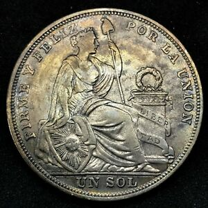 1923 PERU 1 SOL SILVER  TONED  COIN. #3  KM# 218.1