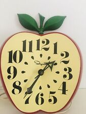 New ListingVintage 60's Ingraham Kitchen School Apple Wall Clock With Cord Tested Works