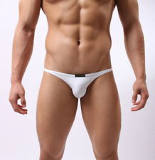 Mens Small Brave Person Nylon Spandex White Tanga Briefs Low Rise Sexy Gay UK