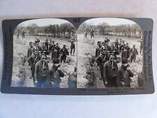 WW1 SOLDIERS ABOUT TO ENTER TEARGAS TRENCH CAMP DIX NJ KEYSTONE STEREOVIEW 19222