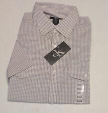 Calvin Klein Mens Checkered Shirt Short Sleeve Button up Alloy Size M