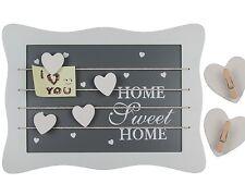 Holz Memoboard Memotafel Home Sweet Home Herz Weiß Grau Fotoseil Wäschklammern