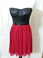 Dress Black Corset Red Pleated Flowing Skirt Material Girl Junior's Size M