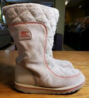 Sorel Boots Womens Size 5 Quilted Fur Suede Leather Winter Boot