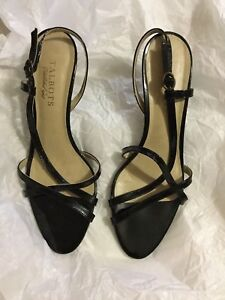 EXCELLENT CONDITION Talbots Black Patent Leather Strappy Slingbacks - 8