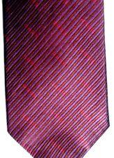 """Tommy Hilfiger Mens Silk Tie 55"""" X 3.75"""" Wine w/ British Stripe Weave & Red Geo"""