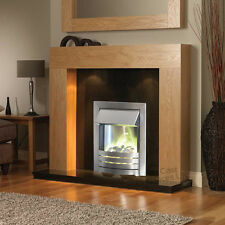 """ELECTRIC OAK WOOD SURROUND BLACK SILVER WALL FIRE FIREPLACE SUITE LIGHTS BIG 54"""""""