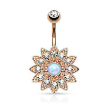 Opal Center Belly Button Ring Crystal Flower Navel Barbell Jewelry Body Piercing