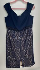 Kaleidoscope Ladies Dress Size 16 Navy Blue Party Evening Occasion Beaded Lace