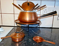 Vintage Spring Modder Copper Fondue Set With The Original Fondue Cooking Books