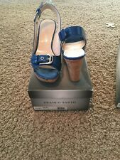 Franco Sarto Carnival Denim Wedge 7.5 Patent Blue Slingback Sandal New Peep Toe