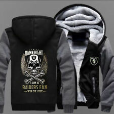 Winter Thicken Hoodie Oakland Raiders Warm Sweatshirt Lacer Zipper Jacket :ERF