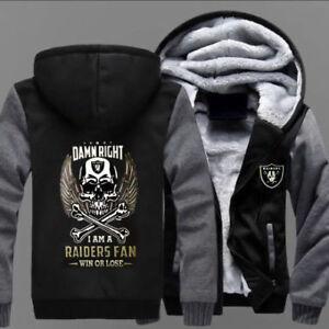 Winter Thicken Hoodie Oakland Raiders Warm Sweatshirt Lacer Zipper Jacket :ERF