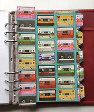 Organizador Filofax A5 Planificador-Retro Cassette cinta divisores-Totalmente Laminado