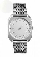 Slow Mo 1 Swiss Made One-Hand 24 Hour Watch Silver Steel New Free Shipping