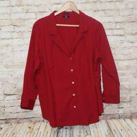 TALBOTS Women Wrinkle Resistant Cotton Blouse 3/4 Sleeve Red Petites 18WP EUC