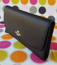 New Coach Pebbled Leather Trifold Flap Wallet in Black (NO CHECKBOOK HOLDER).