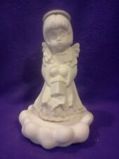 """Angel with Square Lantern on Cloud 9"""" Ceramic Bisque Ready To Paint"""