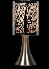 Bedside Table Desk Cafe Metal Etching Touch Lamp Silver Tree 30cmH