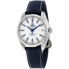 Omega Seamaster Aqua Terra Automatic White Dial Blue Nylon Mens Watch