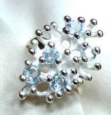 Blautopas Ring 925 Silber Gr. 18,4 (58) mattiertes modisches Designer UNIKAT NEU