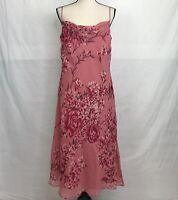 Ann Taylor Womens Pink Silk Floral Long Dress SZ 12 Spaghetti Straps Drape Neck