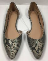 Womens Mohana D'orsay Snake Print Pointed Toe Ballet Flats A New Day Gray 9.5