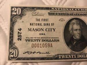 CH#2574 1929 $20 MASON CITY IA Iowa (DILLINGER Robbed bank 1934)