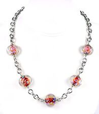 """Sterling Silver Wide Rolo Chain Dichroic Lampwork Glass Bead Necklace 18"""""""