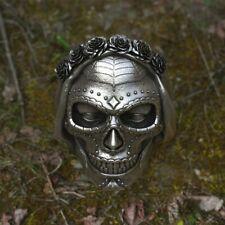 Goth Ring Rose Crown Sugar Skull Stainless Steel Women Punk Biker Jewelry