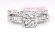 Princess Cut Invisible Diamond Solitaire Wedding Ring Band Set 14k WG 1.40Ct