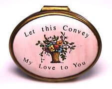 "Halcyon Bilston Battersea Enamels ""Let This Convey My Love to You"" Oval Box"