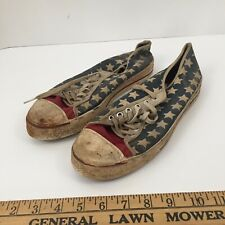 Vtg. Converse Canvas Shoes Sz 9 Low Top Sneaker 50s American Flag stars stripe