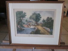 Currier and Ives Roadside Mill authentic print dated 1870-Good condition-NICE!!