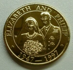 Prince Philip & Queen Elizabeth 50th Anniversary Gold-plated 5 Crowns 1997 T&C