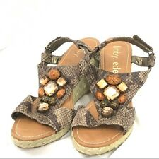 libby. edelman Brown Faux Snakeskin Jeweled Wedge Sandals 9M