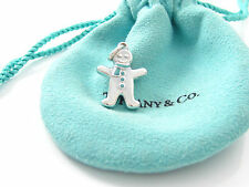 Tiffany & Co Silver RARE Blue Enamel Gingerbread Man Charm Pendant!