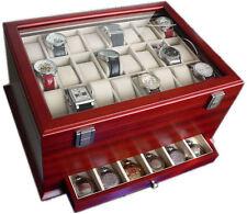 Scatola Portaorologi Astuccio per 54 orologi in legno vetrina Box Cofanetto